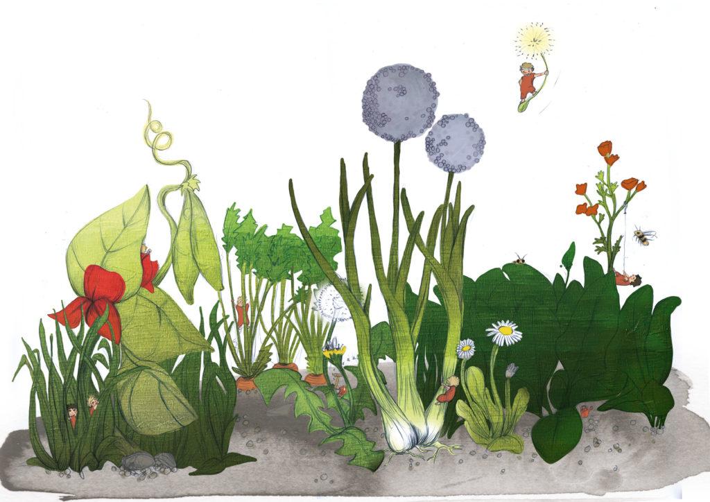 Eine illustrierte Blumenwiese